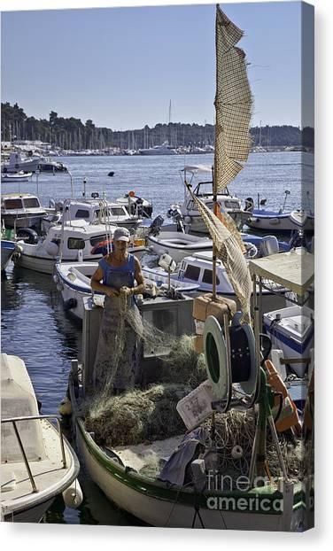 Rovinj Canvas Print - Rovinj Fisherman by Madeline Ellis