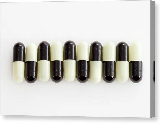Row Of Black And White Pills Canvas Print