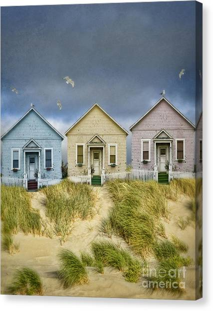Charming Cottage Canvas Print - Row Of Pastel Colored Beach Cottages by Jill Battaglia