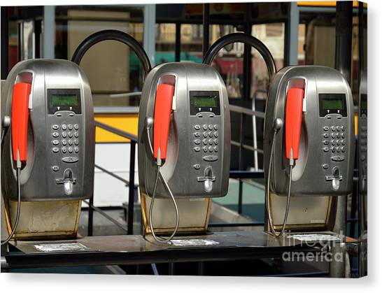 Row Of Pay Phones In Venice Canvas Print by Sami Sarkis