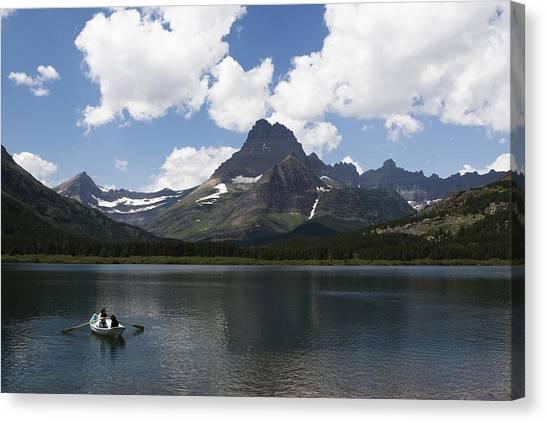 Rowboat At Many Glacier Canvas Print