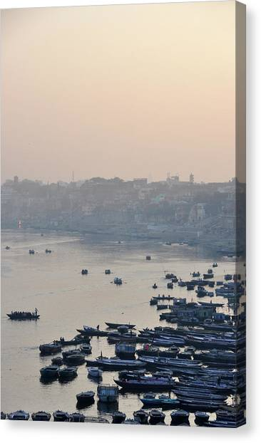 Ganges Canvas Print - Rowing Boats On Ganges River by Jessica Solomatenko