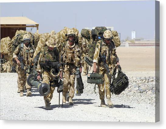 Royal Marines Canvas Print - Royal Marines Haul Their Equipment by Andrew Chittock