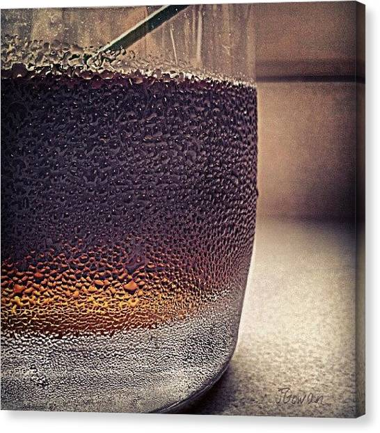 Wet Canvas Print - Rum. Yum. #rum #yum #droplets #cola by Jess Gowan