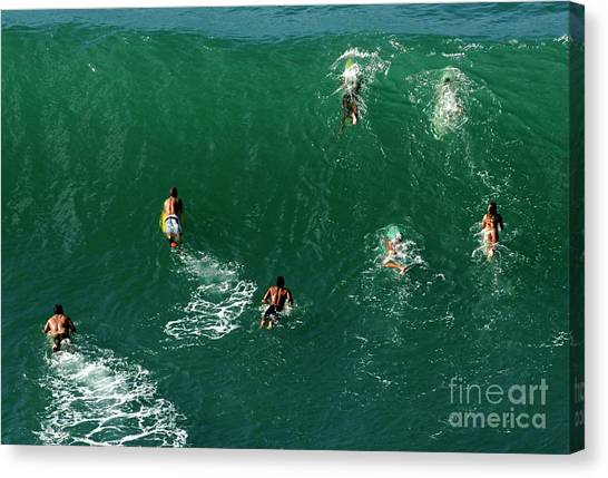 Surfboard Fence Canvas Print - Rush Hour Traffic by Bob Christopher