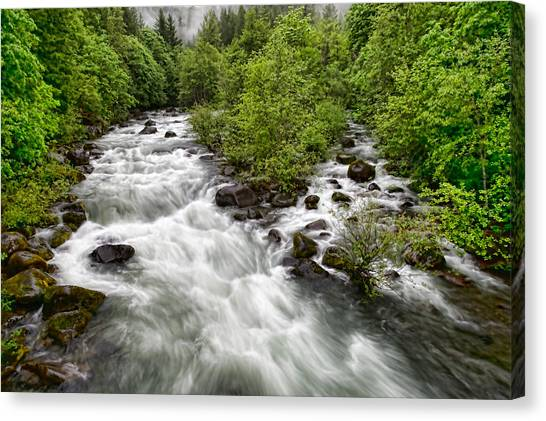 Rushing River Canvas Print by Donna Caplinger