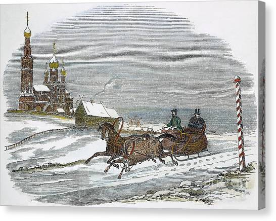 Sleds Canvas Print - Russia: Winter, 1847 by Granger