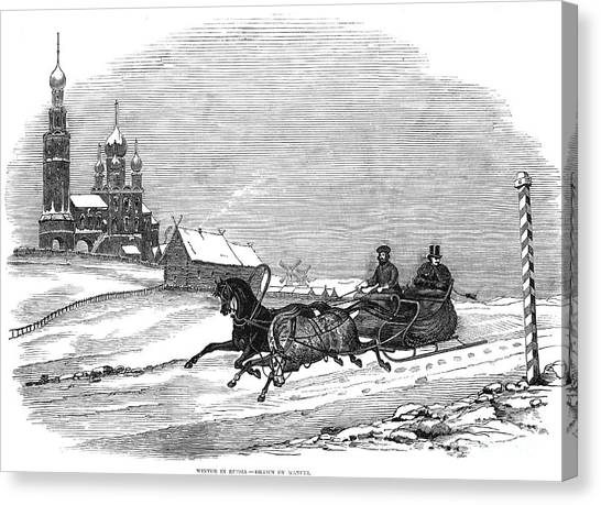 Sleds Canvas Print - Russia: Winter Scene by Granger
