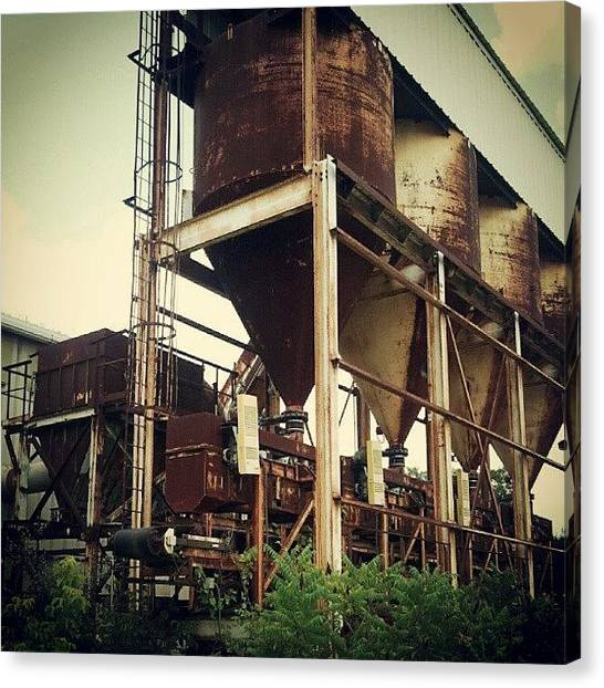Tanks Canvas Print - #rust #tanks #industry #old #overgrown by Tracy Hager