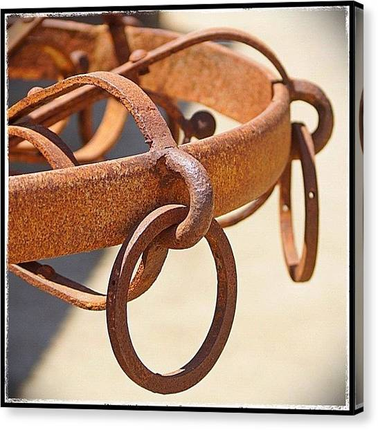 Rodeos Canvas Print - Rusty Horse Tethering Rings by Polly Rhodes