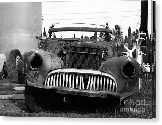 Rusty Old American Car . 7d10343 . Black And White Canvas Print by Wingsdomain Art and Photography