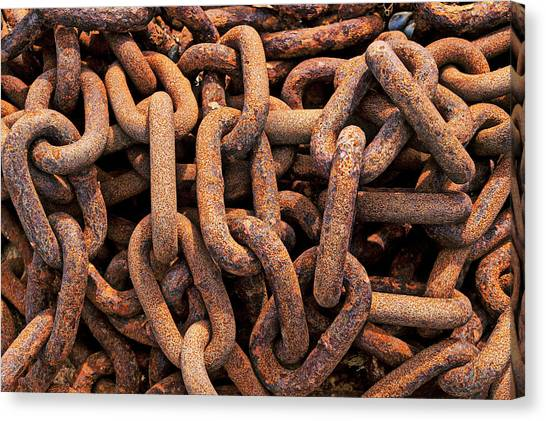 Chain Link Canvas Print - Rusty Ships Chain by Garry Gay