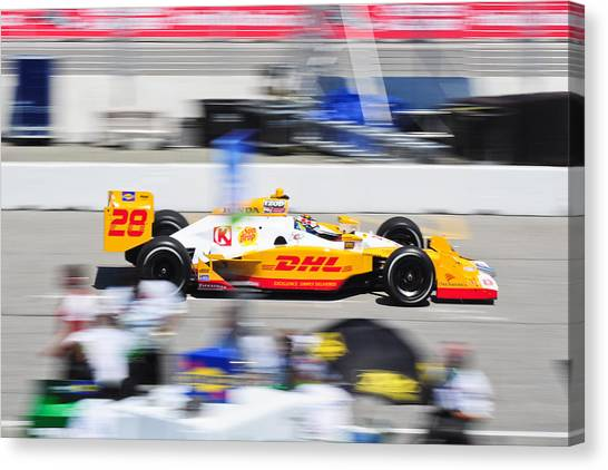 Ryan Hunter-reay Canvas Print - Ryan Hunter-reay Exiting Pit  Road by Jarvis Chau