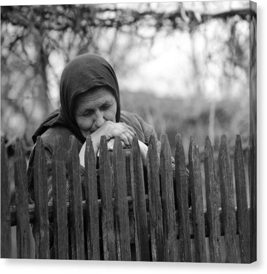 Sad Peasant At The Fence Canvas Print