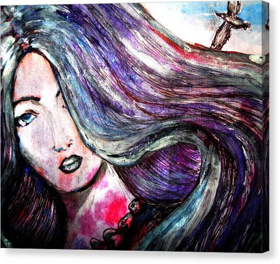 Sad Woman Eyes Canvas Print by Vesna Disic