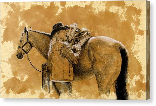 Colorado Cowgirl Canvas Print - Saddled Up by Debra Jones
