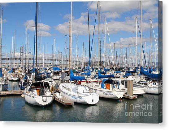 Sail Boats At San Francisco China Basin Pier 42 With The Bay Bridge In The Background . 7d7688 Canvas Print by Wingsdomain Art and Photography