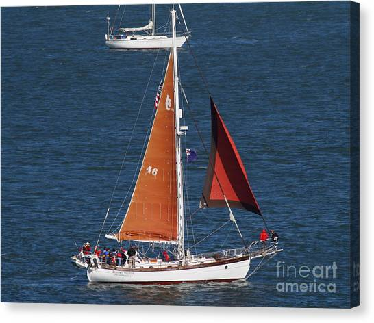 Sailboat In The San Francisco Bay . 7d7881 Canvas Print by Wingsdomain Art and Photography