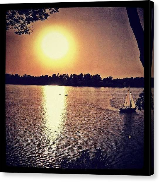 Sailboats Canvas Print - #sailboat #kansascity #lake #sunset by Travis Wright