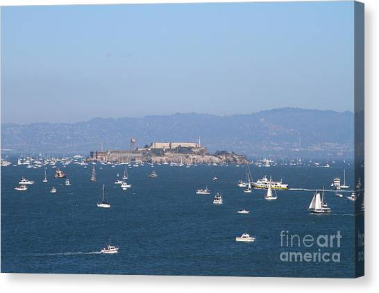 Sailboats In The San Francisco Bay Overlooking Alcatraz . 7d7862 Canvas Print by Wingsdomain Art and Photography