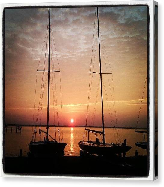 Sailboats Canvas Print - Sailboats In The Sunset by Dustin K Ryan