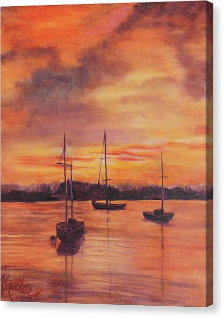 Sailboats In The Sunset Canvas Print