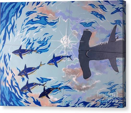 Tiger Sharks Canvas Print - Sailfish Splash Park Mural 8 by Carey Chen