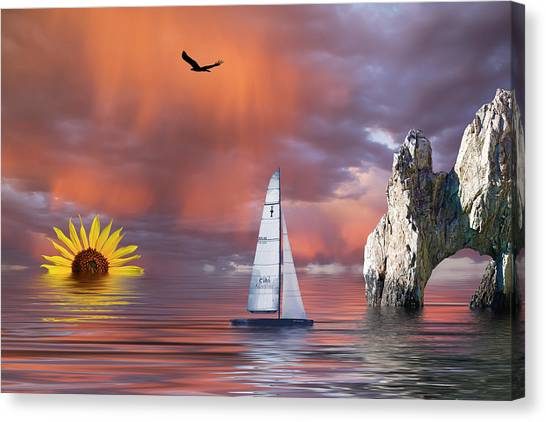Sailing At Sunset Canvas Print