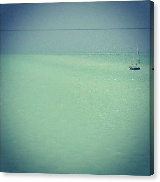 Mars Canvas Print - Sailing Away. #boat #water #blue by Emily W