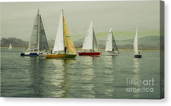 Jibbing Canvas Print - Sailing Day Regatta by Julie Lueders