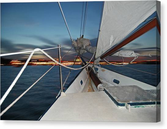 Sailing In The Bay Canvas Print by Jim and Kim Shivers