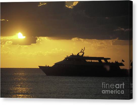 Sailing Into The Sun Cozumel Mexico Canvas Print by John  Mitchell