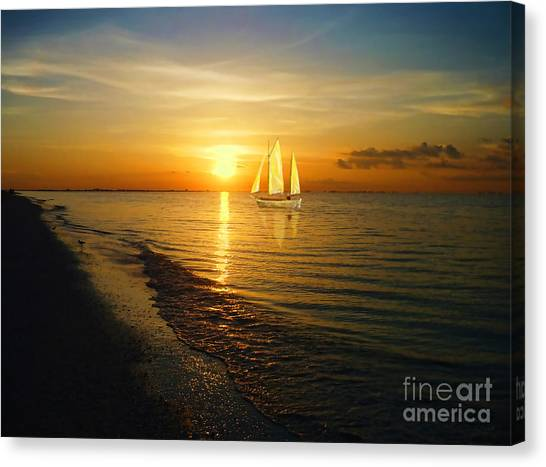 Ocean Sunrises Canvas Print - Sailing by Jeff Breiman