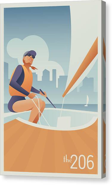 Orange Canvas Print - Sailing Lake Union In Seattle by Mitch Frey