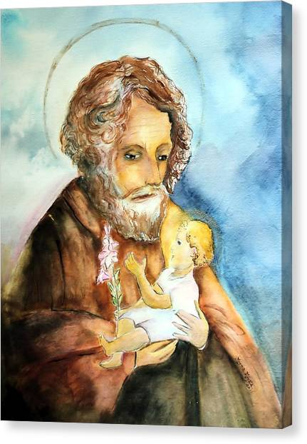 Saint Joseph And Child Canvas Print by Myrna Migala