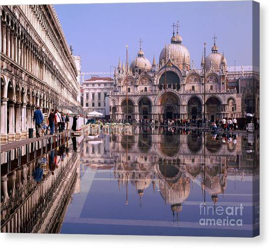Saint Mark Square Under Water Canvas Print by Serge Fourletoff