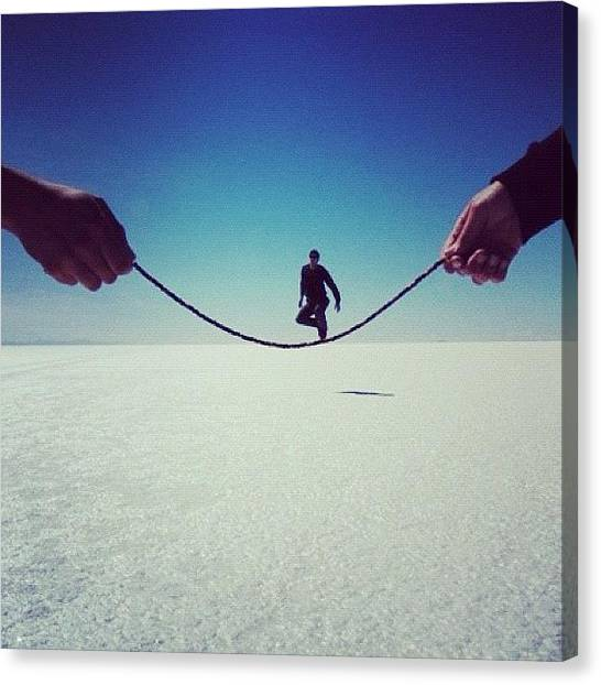 Salt Canvas Print - #salar #bolivia #me #myself #i #jumping by Alon Ben Levy