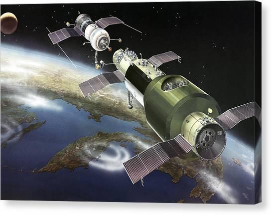 Salyut 1 Space Station, Artwork Canvas Print by Ria Novosti