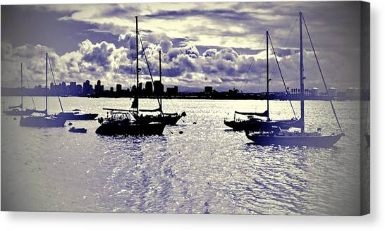 Canvas Print featuring the digital art San Diego View From Shelter Island IIi by Visual Artist Frank Bonilla