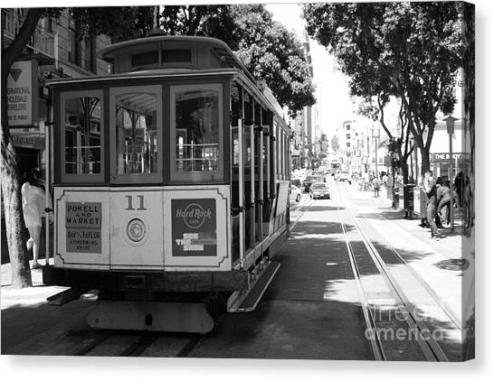 San Francisco Cable Cars At The Powell Street Cable Car Turnaround - 5d17962 - Black And White Canvas Print by Wingsdomain Art and Photography