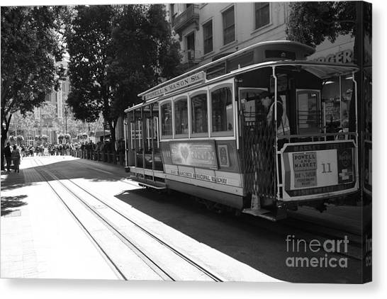 San Francisco Cable Cars At The Powell Street Cable Car Turnaround - 5d17963 - Black And White Canvas Print by Wingsdomain Art and Photography