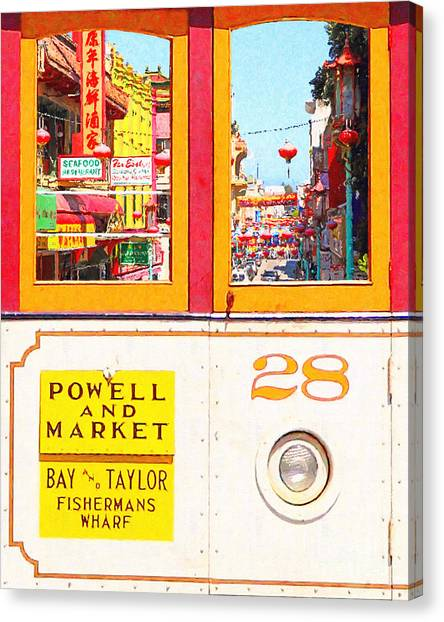 San Francisco Cablecar 28 . Chinatown Canvas Print by Wingsdomain Art and Photography