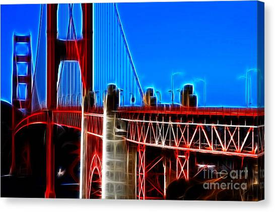 San Francisco Golden Gate Bridge Electrified Canvas Print by Wingsdomain Art and Photography