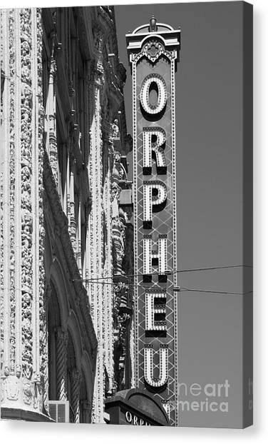 San Francisco Orpheum Theatre - 5d17996 - Black And White Canvas Print by Wingsdomain Art and Photography