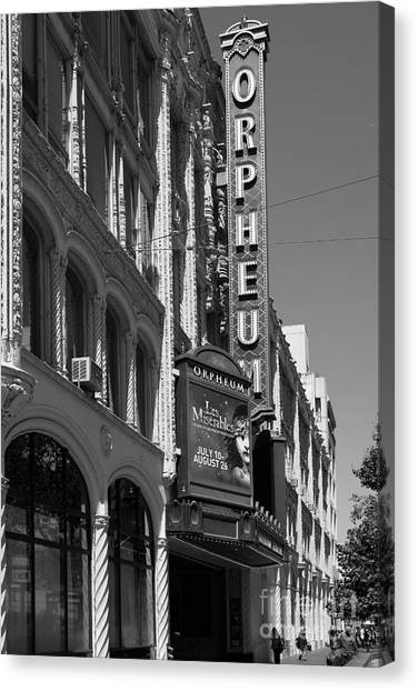 San Francisco Orpheum Theatre - 5d17997 - Black And White Canvas Print by Wingsdomain Art and Photography