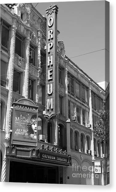 San Francisco Orpheum Theatre - 5d18007 - Black And White Canvas Print by Wingsdomain Art and Photography