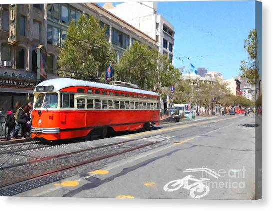 San Francisco Streetcar At The Orpheum Theatre - 5d17998 - Painterly Canvas Print by Wingsdomain Art and Photography