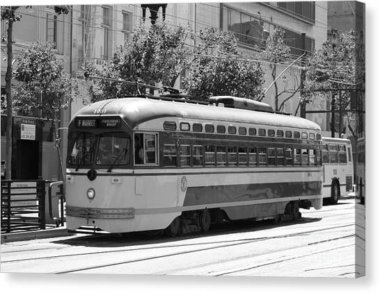 San Francisco Vintage Streetcar On Market Street - 5d17972 - Black And White Canvas Print by Wingsdomain Art and Photography