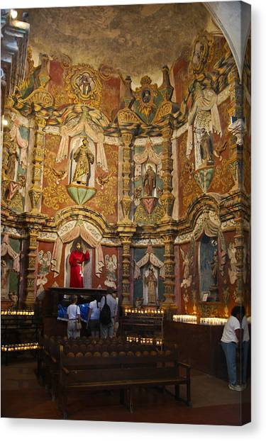 Father Kino Canvas Print - San Xavier Side Altar by Jon Berghoff