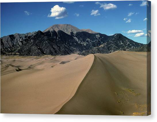 Sand Dunes With Mount Blanca Canvas Print
